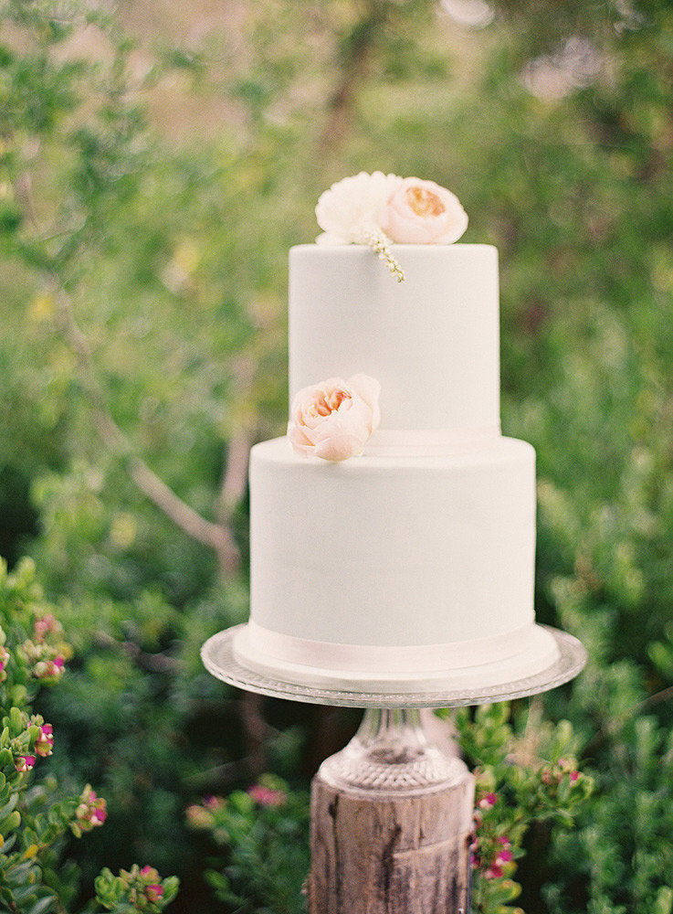 It doesn't take much (just some peonies on a standard design) to get us in full cake-crush mode.  Photo by S. Leishman Photography via Style Me Pretty