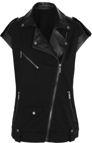 Karl Lagerfeld Joy faux leather and stretch-jersey biker vest