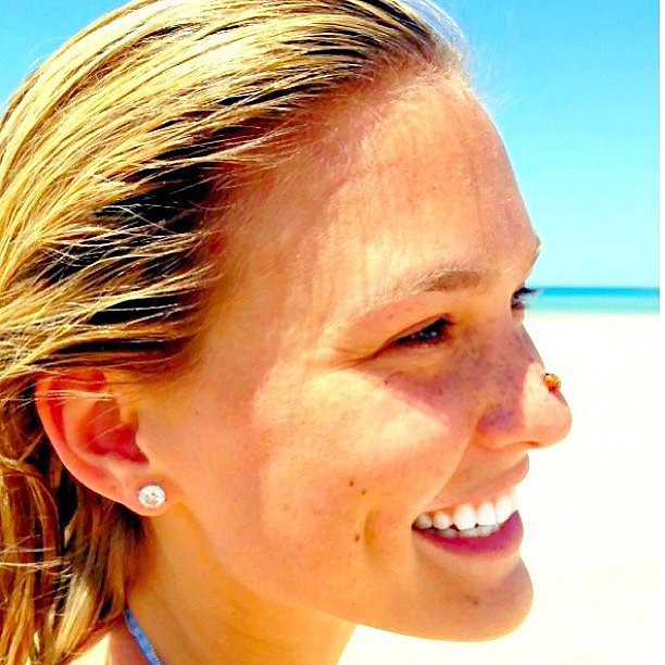 Bar Refaeli shared a lucky moment on the beach — a ladybug landed on her nose! Source: Instagram user barrefaeli