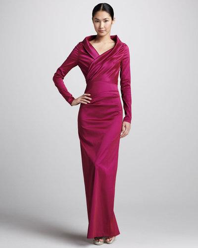 Talbot Runhof Long-Sleeve Ruched Taffeta Gown