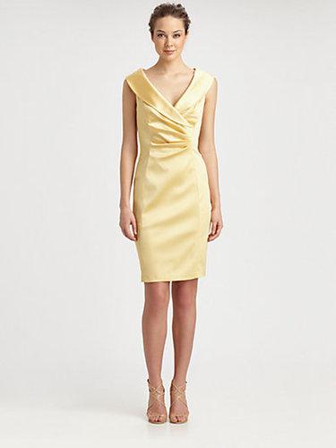 Kay Unger Satin Shawl Collar Dress
