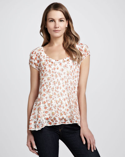 Free People Floral-Print Net-Back Top