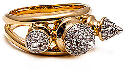 nOir The Metal Mix Pave 3 Spike Ring in 18k Gold