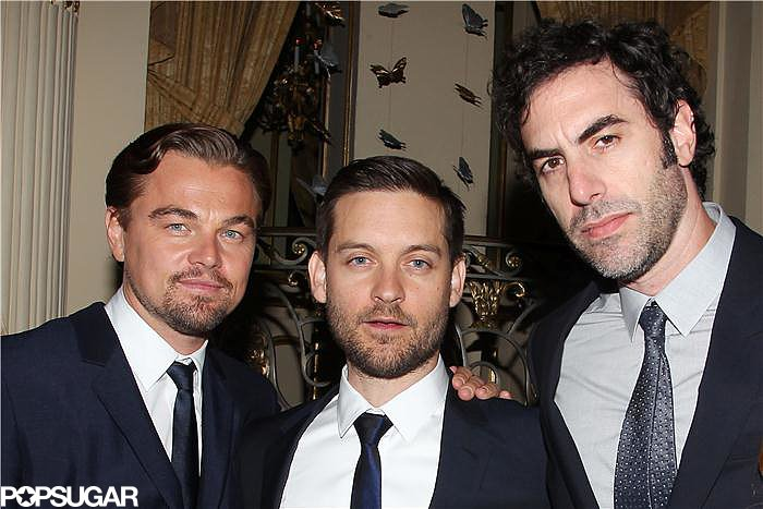 Leonardo DiCaprio and Tobey Maguire chatted with Sacha Baron Cohen.