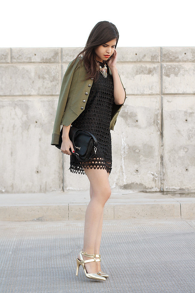 Ease into Spring with a little eyelet dress that's finished off with a cool army jacket or anorak. Source: Lookbook.nu