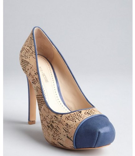 Pour la Victoire navy leather and perforated cork cap toe 'Gianna' pumps