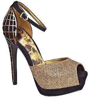 Paulette Sparkle Peep Toe Platform Heels