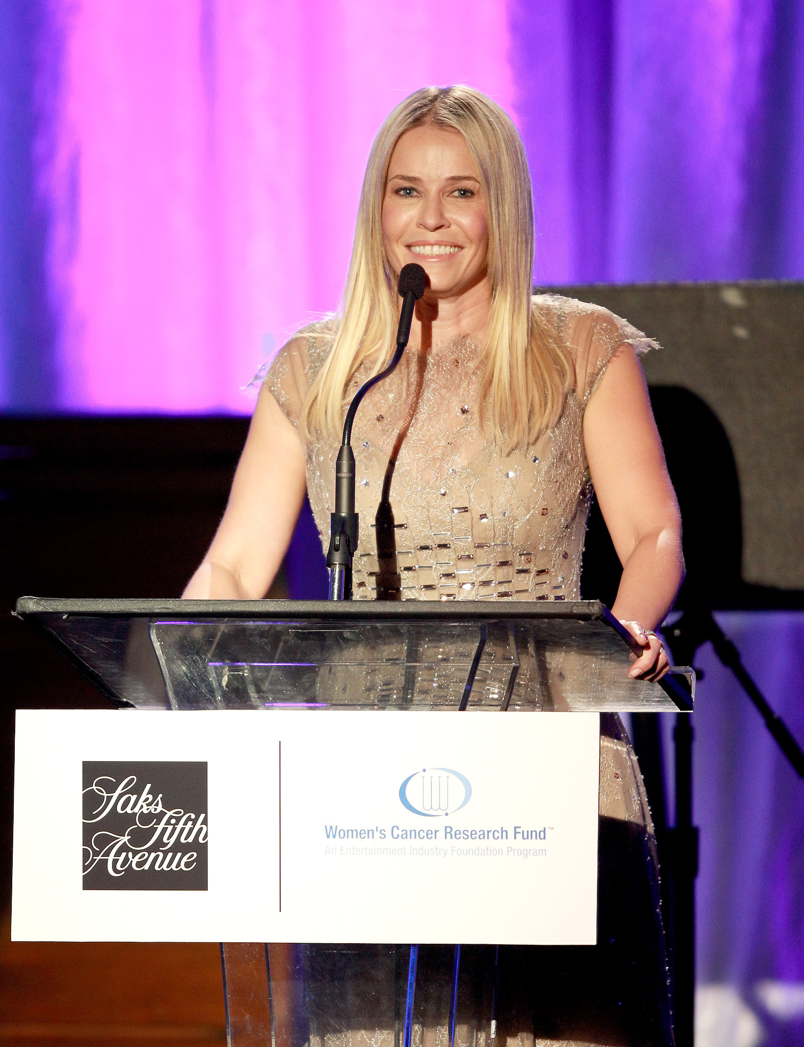 Chelsea Handler spoke at the EIF dinner benefiting the Women's Cancer Research Fund in Beverly Hills.