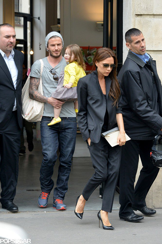 David Beckham spent the day with his wife, Victoria Beckham, and daughter, Harper Beckham, in Paris.