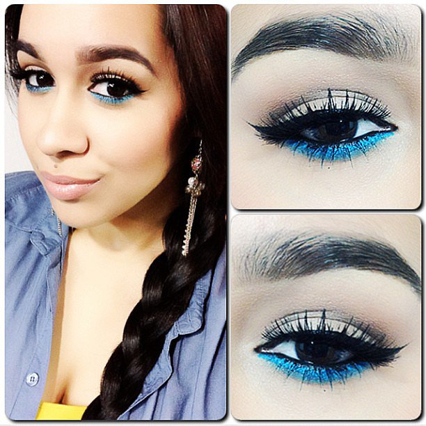 A swipe of metallic blue under your eye makes for a fun and unexpected look. Source: Instagram user jaylina215