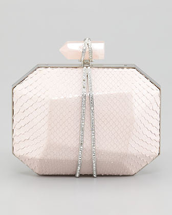 Here's another Marchesa light pink python minaudière  ($2,195) that will look amazing no matter what kind of wedding dress you wear. The shape and rhinestones are simply stunning.