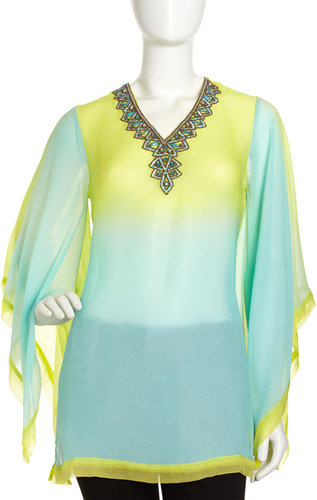 Alberto Makali Ombre Beaded Neck Tunic, Lime/Turquoise