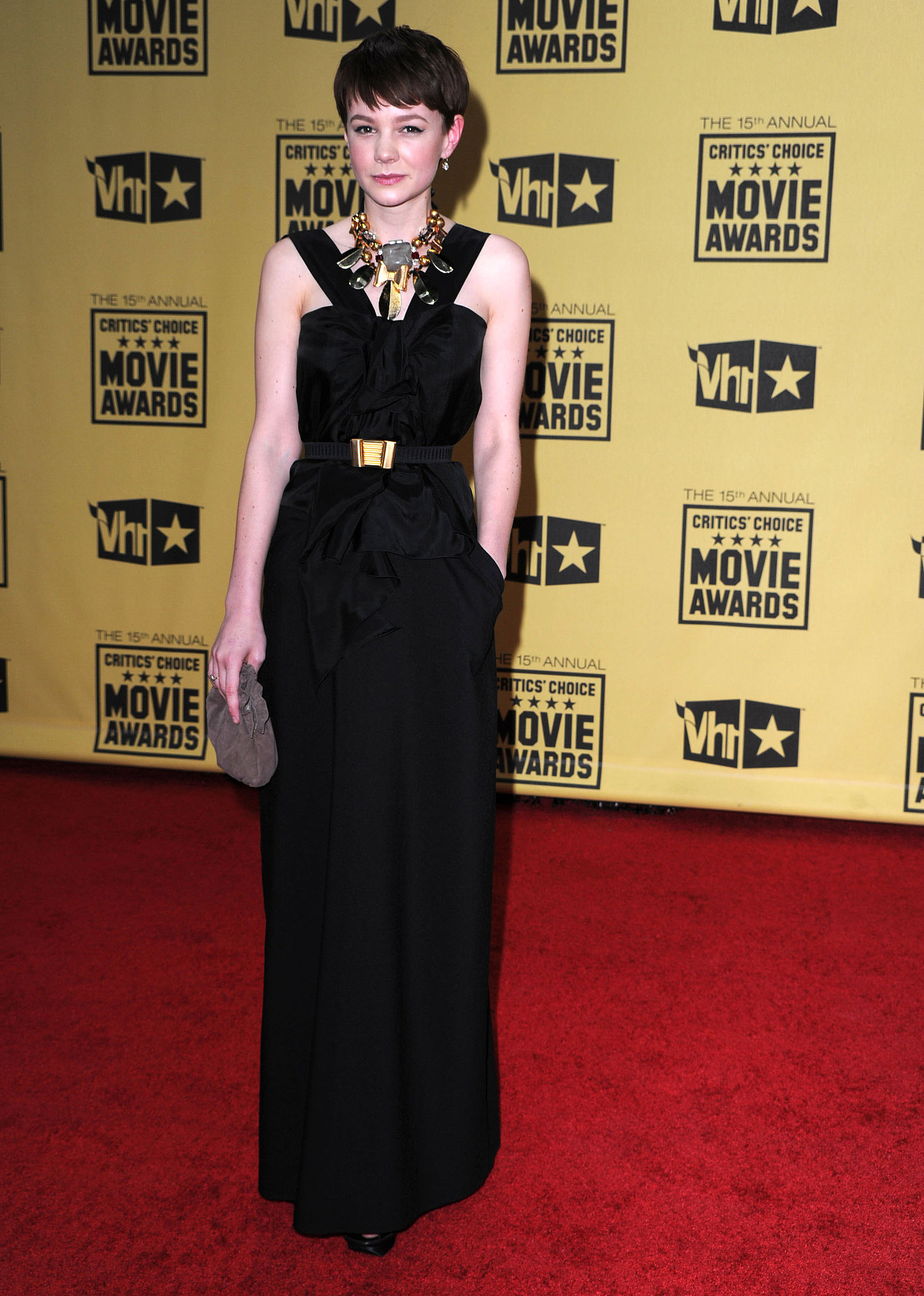 Carey Mulligan in a Long Black Gown at the 2010 Critics' Choice Awards