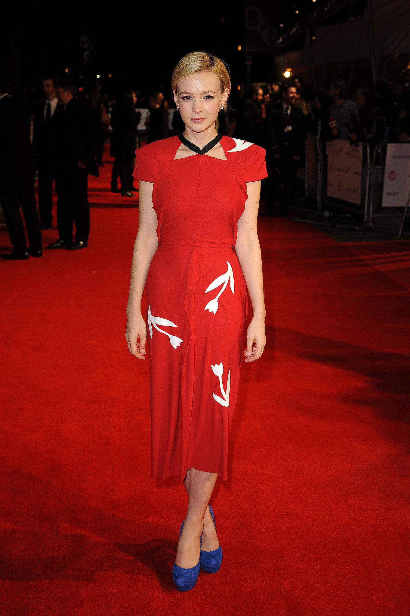 Carey Mulligan in Red Roland Mouret at the 2012 London Film Critics' Circle Awards