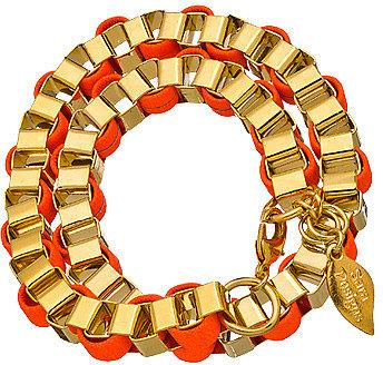 Sara Designs Neon Orange Box Chain Wrap Bracelet