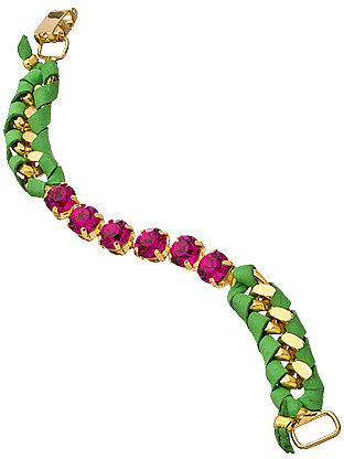 Sara Designs Pink Crystal Lime Leather Bracelet