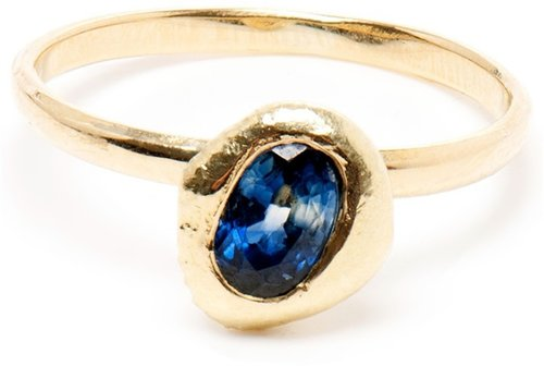 Natasha Collis 18K Gold Stacking Ring with Sapphire