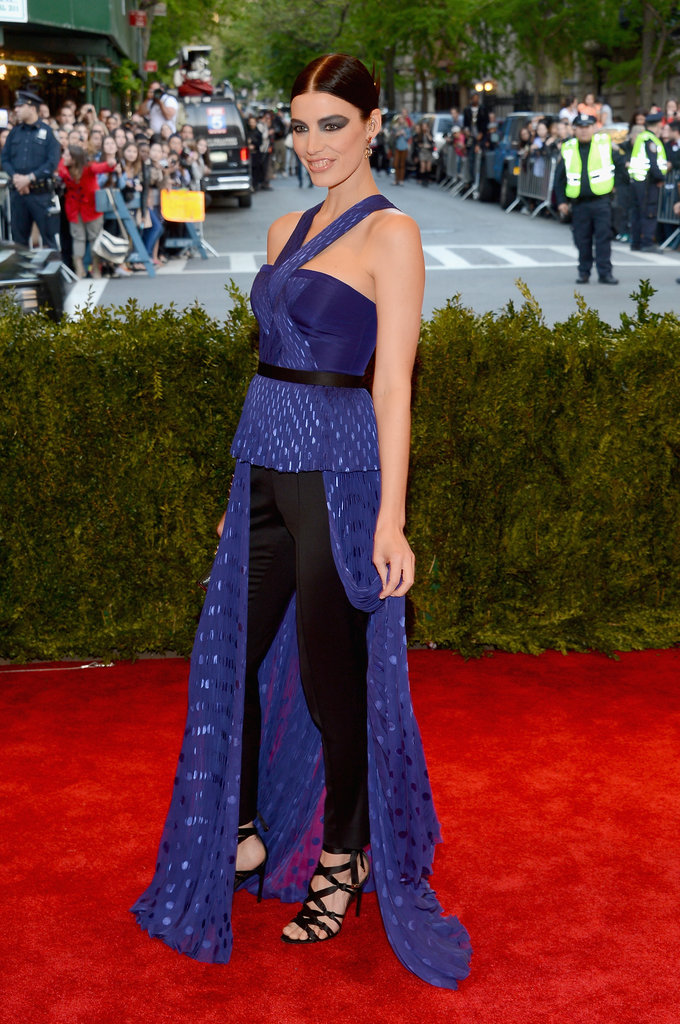 Jessica Paré kept an edge going by rocking pants to the Met Gala.
