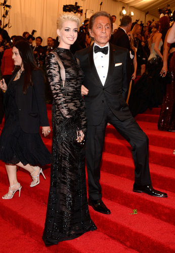 Anne Hathaway and Valentino Garavani at the Met Gala 2013.