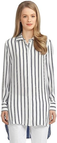 Silk Double Stripe Button-Down Shirt