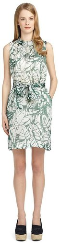 Silk Banana Leaf Belted Dress