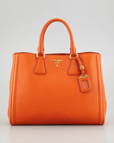 Prada Vitello Daino East-West Tote Bag, Papaya Orange
