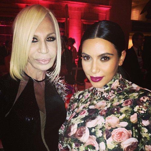 Kim Kardashian and Donatella Versace rubbed elbows inside the party. Source: Instagram user kimkardashian