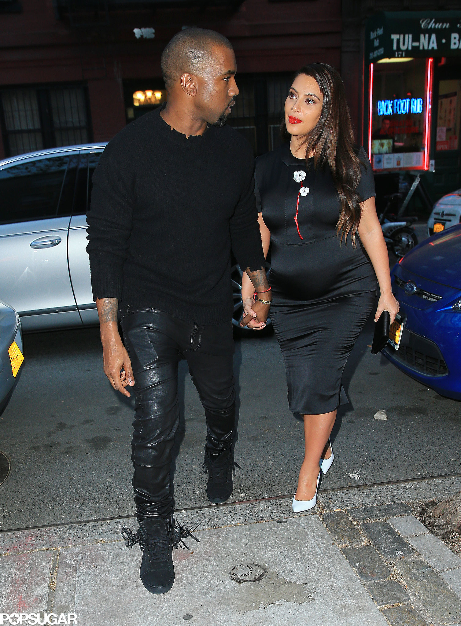Kim Kardashian and Kanye West held hands on their dinner date.