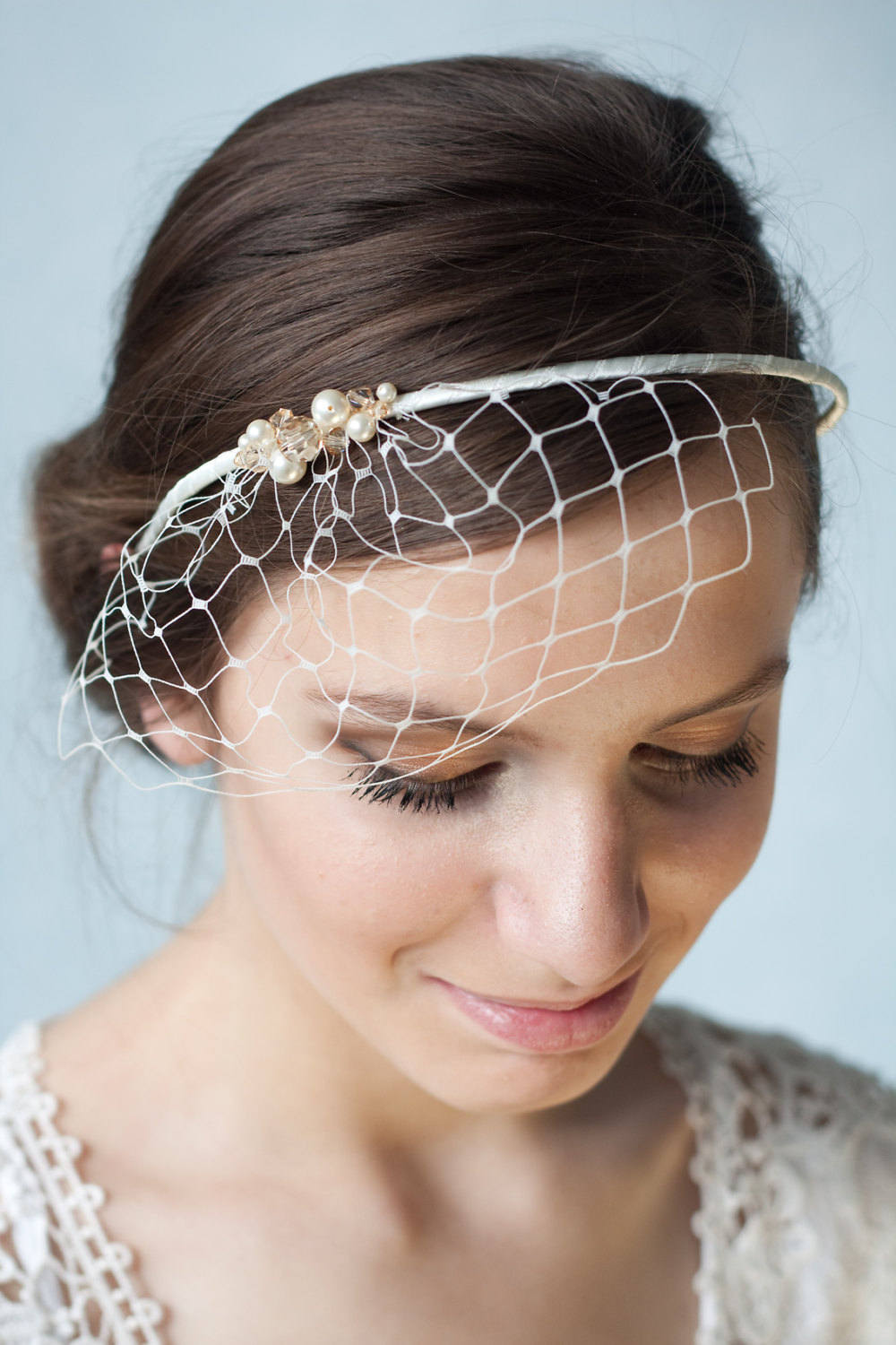 A Bridal Ivory Birdcage Veil Headband ($50.81) Is Simple And Sweet | 40+ Unique Wedding Hair ...