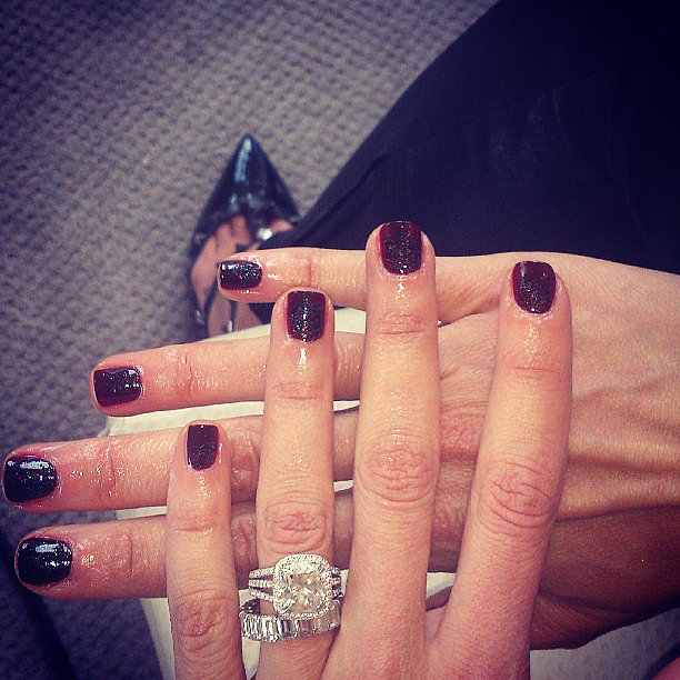 The lovely Katie Hughes of Butter London works on Giuliana Rancic's nails for the Met Gala. Source: Instagram user katiejanehuges