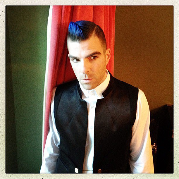 Zachary Quinto brought his inner punk out for the Met Gala.  Source: Instagram user