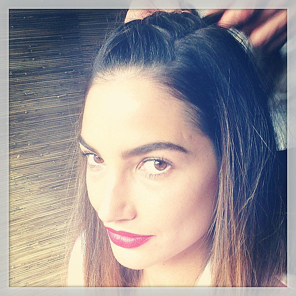 A close-up of Lily Aldridge's hair revealed a french braid cascading down the top of her head. Source: Instagram user officiallilyaldridge