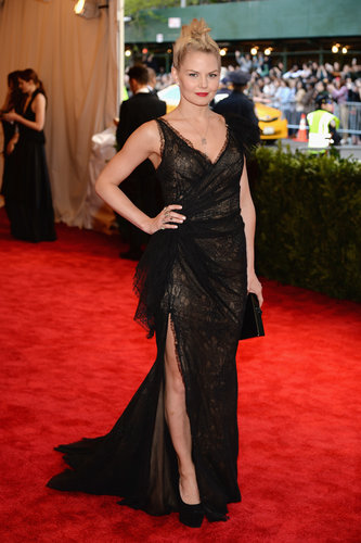For the night's festivities, Jennifer Morrison rocked a Donna Karan Atelier black lace gown with custom jewelry by J.Herwitt and Giuseppe Zanotti pumps.