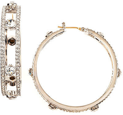 ABS by Allen Schwartz Pave Station Hoop Earrings