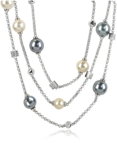 AZ Collection Glass Pearl Triple Chain Necklace