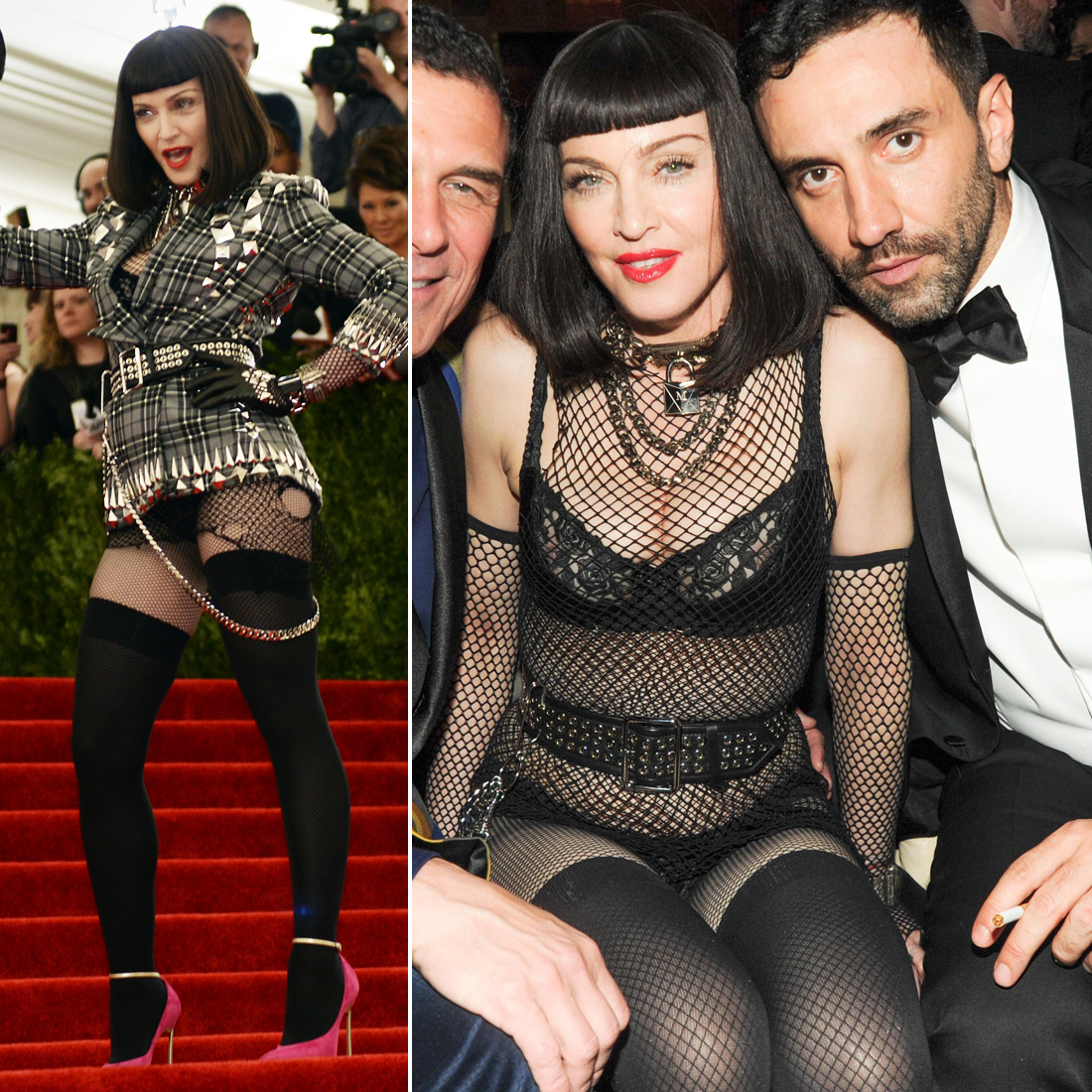 Madonna picked a Givenchy Haute Couture by Riccardo Tisci look that combined tartan, shredded fishnets, black leather, chains, and plenty of studs. As for the afterparty? She skipped the tartan topper and kept it very revealing.