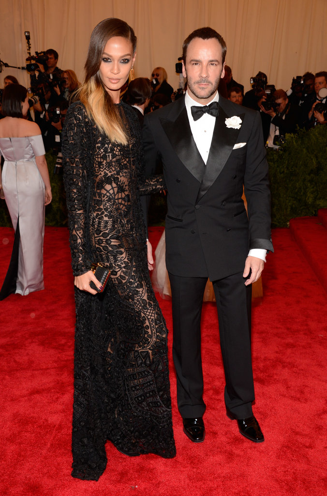 Joan Smalls made an entrance in a body-conscious, sheer Tom Ford gown alongside the designer.