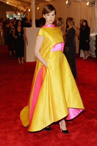The future of punk looks bright if Elettra Wiedemann's dress is to be believed. The model picked a double-faced satin Prabal Gurung gown and matching cape in sunny yellow and cheerful pink.