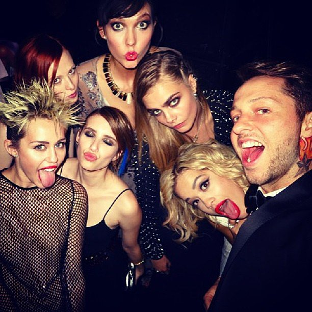 Miley Cyrus, Emma Roberts, Rita Ora, Karlie Kloss, Cara Delevingne and more got the Met Gala after party started. Source: Instagram user derekblasberg