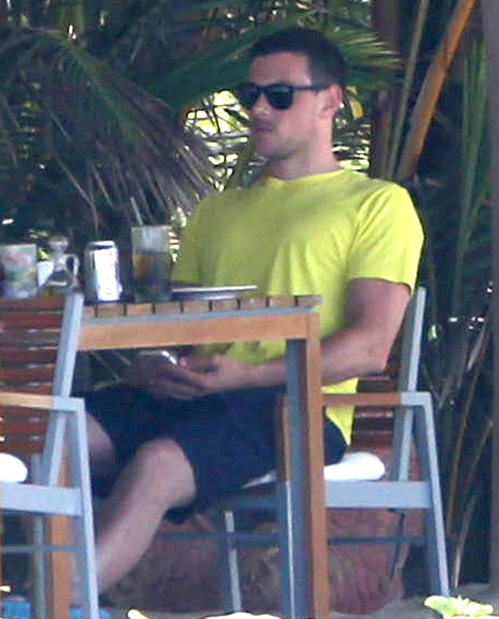 Cory Monteith sat down to lunch with Lea Michele in Mexico.