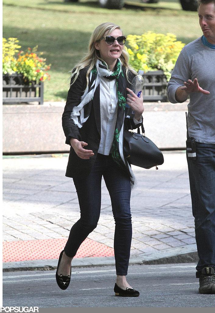 Kirsten Dunst arrived on the Anchorman 2 set.