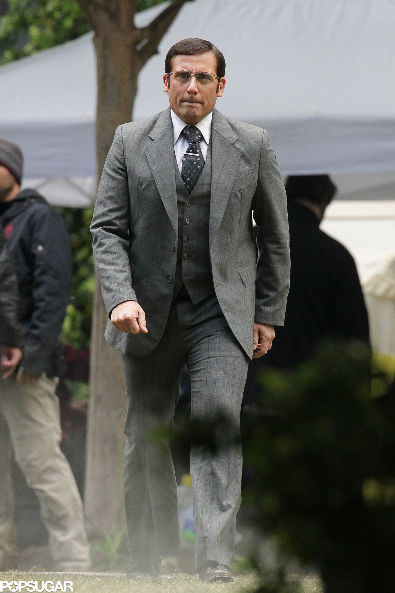 Steve Carell walked around on set in costume.