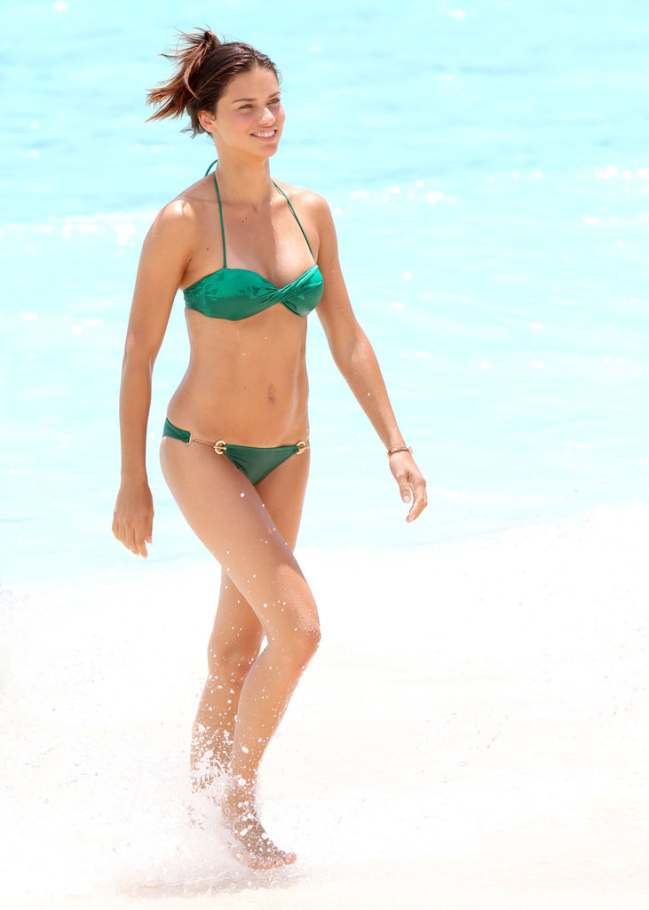 Adriana Lima splashed in the water during a St. Barts photo shoot for Victoria's Secret in May.