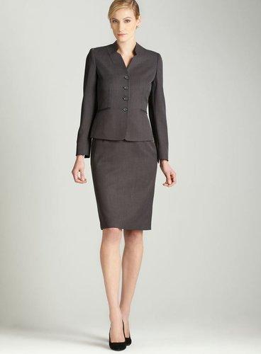 Tahari Grey four button skirt suit