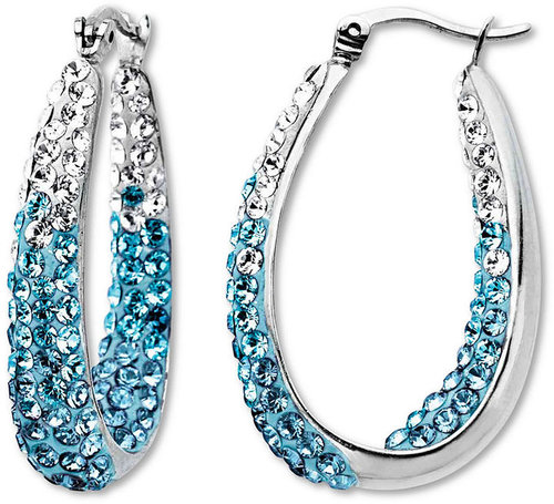 Kaleidoscope Sterling Silver Earrings, Blue Ombre Crystal Hoop Earrings with Swarovski Elements