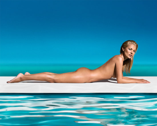 Kate Moss got naked to pose for a new St. Tropz ad.