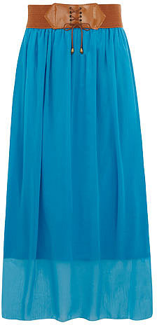 Blue belted boho maxi skirt