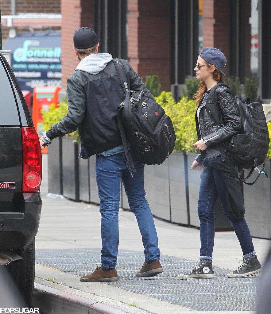 Kristen Stewart and Robert Pattinson both wore baseball hats.
