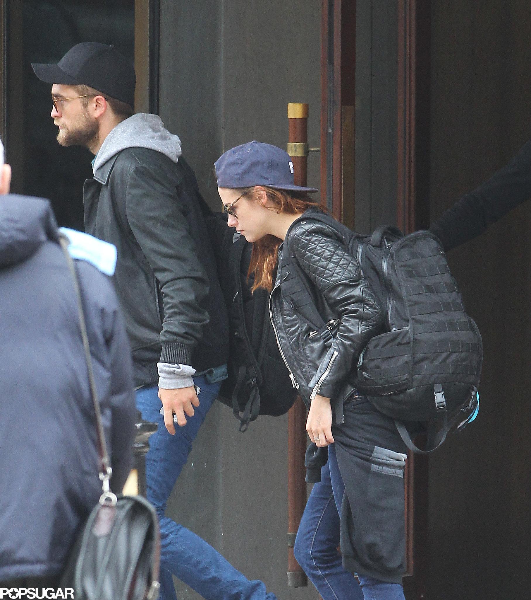 Kristen Stewart followed Robert Pattinson to their car.