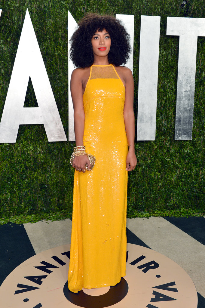 The yellow sequined Emilio Pucci gown Solange Knowles showed off at the 2013 Vanity Fair Oscar after-party would no doubt add a ray of sunshine to a black-tie affair. To balance the bright hue, add chunky gold jewellery for a touch of tough.